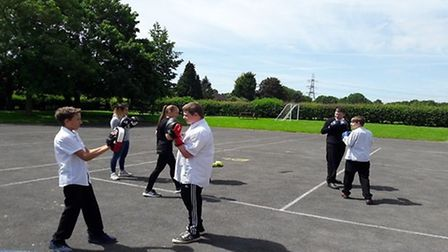 Boys at Brandles have been working with Herts police on a 12 week boxing programme. Picture: Brandle