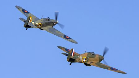 The crowd was treated to the rare sight of two Hawker Hurricanes. Picture: Darren Harbar
