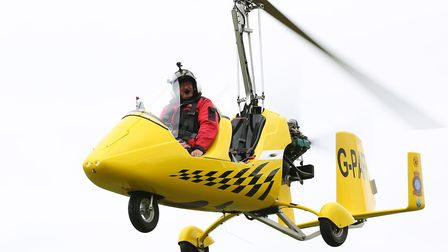 Steve Paffett in his AutoGyro. Picture: Danny Loo