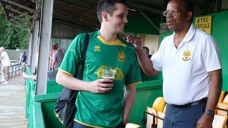 Theo Peters, right, with Darren White at Top Field. Picture: Hitchin Town FC