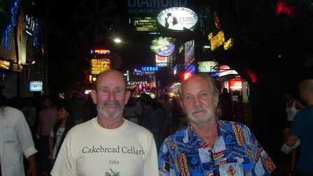 Frank Watson, right, on a night out in Pattaya with his friend Julian Cakebread. Picture: Courtesy o
