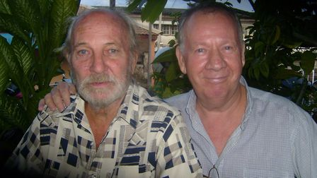 Frank Watson, left, with golfing pal Dave in Thailand. Picture: Courtesy of Julian Cakebread