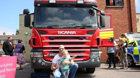 Mathew and Oscar Malone, two, at Hitchin Fire Station Open Day. Picture: CALLUM ALLCOCK-GREEN