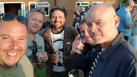 Journalist Layth Yousif with friends at the Hitchin Beer and Cider Festival