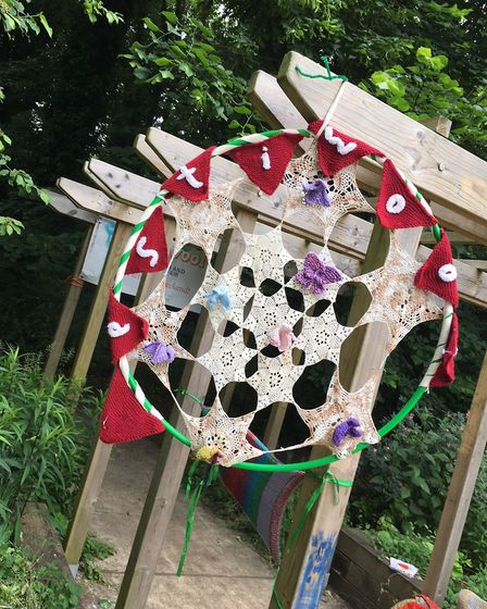 Hitchin Stitchin's yarn-bombing at the Triangle Community Garden open day. Picture: Vicky Wyer