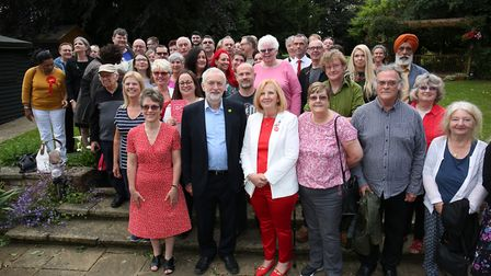 Jeremy Corbyn with Stevenage Labour supporters at Springfield House, Stevenage. Picture: DANNY LOO