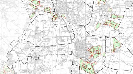 A map showing where farmland around Biggleswade, Sandy and Potton could be sold off by Central Bedfo