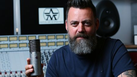 Aston Microphones managing director James Young with one of their Spirit microphones in the recordin