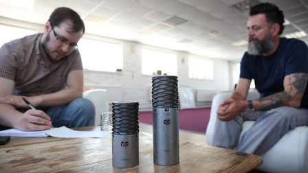 Comet chief reporter JP Asher chats to Aston Microphones managing director James Young at their Hitc