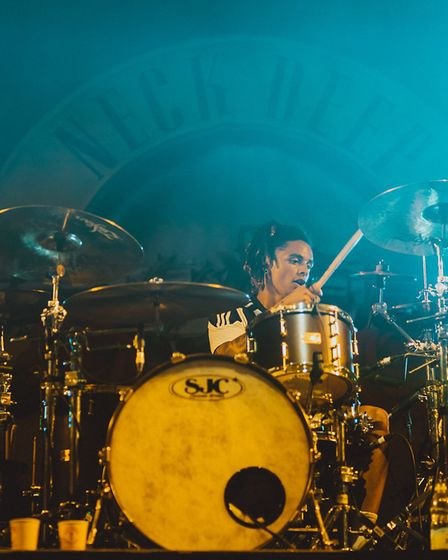 Neck Deep drummer Dani Washington on stage with Aston Microphones gear. Picture: Aston Microphones