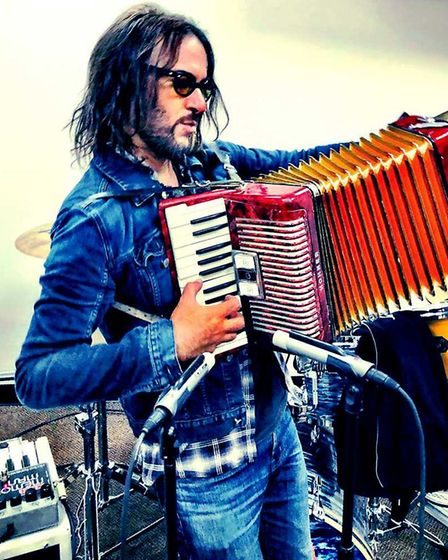 Foo Fighters' Rami Jaffee using two of Hitchin-based Aston Microphones' Starlight mics. Picture: Ast