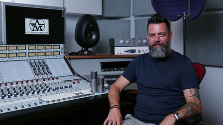Aston Microphones managing director James Young in the recording studio of their Hitchin headquarter