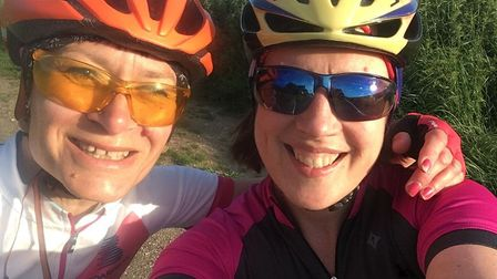 Fundraising cyclists Anji Archer and Judy Kinnear. Picture: Anji Archer