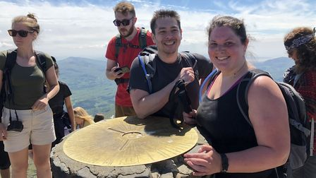 Andy and Lois Woo reached the peak of Snowdon in just under three hours. Picture: Courtesy of Andy W