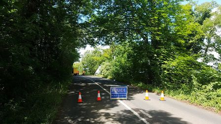 The scene after the crash on the B655 near Hexton. Picture: BCH Road Policing
