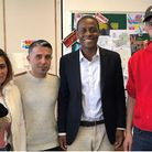 Hitchin and Harpenden MP Bim Afolami, second from right, meets Syrian refugees Sadika, Nader and Kho