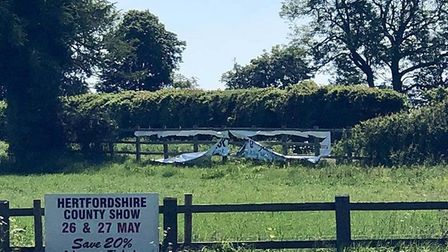 A banner advertising the Sandon Fields Festival has been slashed, and another stolen. Picture: Richa