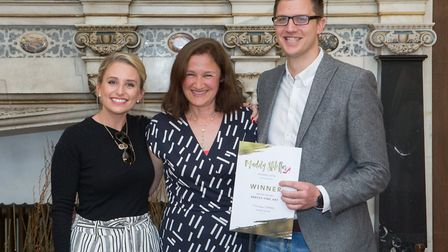 Danielle Walshe and Richard Barry of Arkley Fine Art with Muddy Stilettos editor Sandra Deeble and t