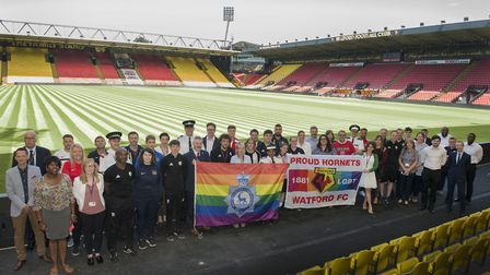 Hertfordshire police, the Hertfordshire FA and clubs from across the county gathered at Watford's Vi