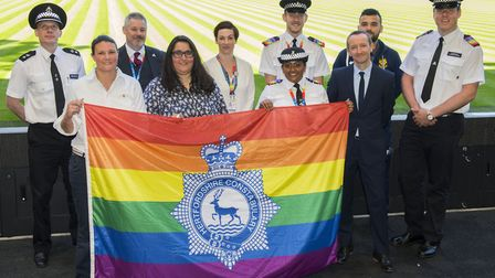 Speakers at the event - Chief Superintendent Matt Nicholls, PC Pat Davey (hate crime officer), PC Do