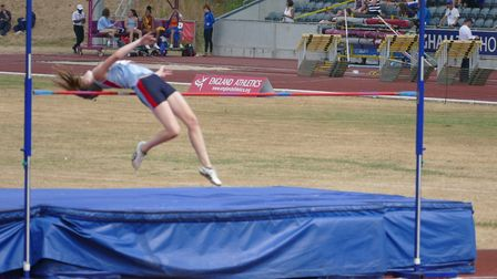 Leonie Brunning competing in the high jump. Picture: Stuart Goodwin