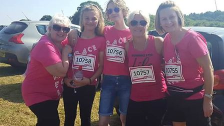 Lisa Saggs, fourth from left, with her family at the Stevenage Race for Life 2018. Picture: Courtesy