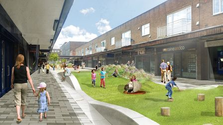 An artist's impression of the new play trail in Market Place. Picture: Stevenage Borough Council