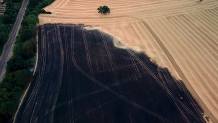 Some of the damage to the field south of Stevenage, as viewed from Mark West's drone. Picture: Mark