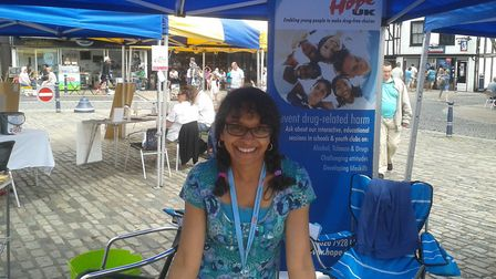Mary Deller supporting Hope UK in Hitchin's Market Place. Picture: Mary Deller