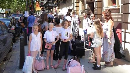 The children from Hitchin's Lesnick School of Ballet and Theatre Arts outside the Shaftesbury Theatr