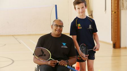 Hitchin Boys' School pupil Ross Ruggles is being coached by para-badminton champ Gobi Ranganathan. P