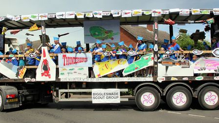 The Biggleswade Scouts' Pride of Parade-winning Thunderbirds float during the 2018 Biggleswade Carni
