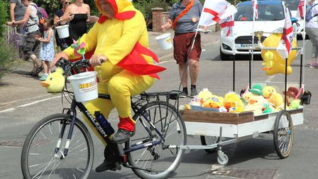 A ducky-costumed fundraiser at the 2018 Biggleswade Carnival parade. Picture: Andy Buckley