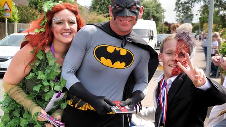 Batman, Two-Face and Poison Ivy at the 2018 Biggleswade Carnival parade. Picture: Andy Buckley