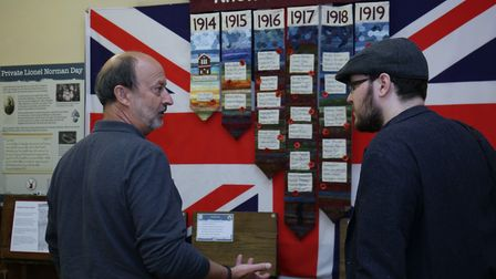 Comet chief reporter JP Asher is shown around the British Schools Museum Herts at War exhibition by