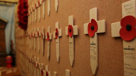 Crosses on a wall at the Herts at War exhibition in the British Schools Museum. Picture: DANNY LOO