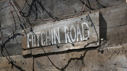 The Hitchin Road sign in the Herts at War trench, part of the First World War centenary exhibition a