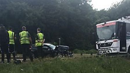 A car has collided with a bin lorry on Six Hills Way in Stevenage. Picture: Kate O'Connor