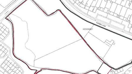 The area off Chaucer Way outlined in red is up for auction. Picture: Crown copyright