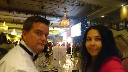 A Moment in Time exhibition co-ordinator Christina Anderson at the Tes School Awards with Andy Reave