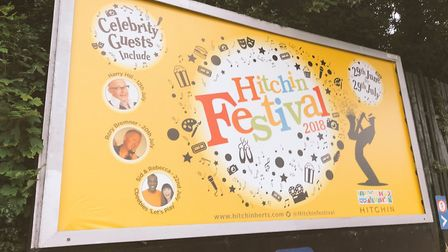 The Hitchin Festival 2018 billboard opposite the town's railway station. Picture: Hitchin Festival