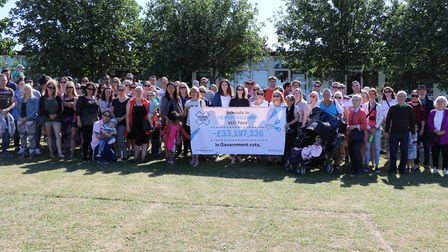 The Hitchin Parents Against School Cuts campaign rallies at Purwell School. Picture: HPASC