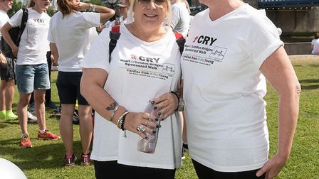 Jackie Godfrey (left) and Louise Fitzpatrick took part in the CRY Bridge Walk 2018 in memory of Jack