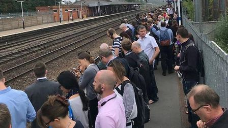 The overcrowding on the platform at Hitchin railway station. Picture: Aaran Vince