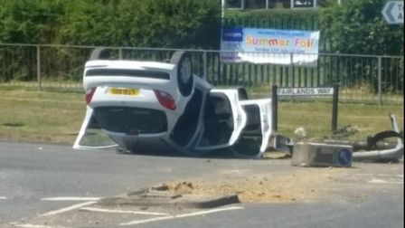 A woman in her 80s was taken to Lister Hospital after her car overturned in Stevenage today. Picture