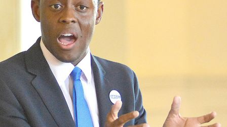Hitchin and Harpenden MP Bim Afolami speaks at the meeting. Picture: Alan Millard