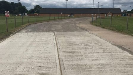 A new access road to Biggleswade Town FC's Langford Road ground has been built after they received a