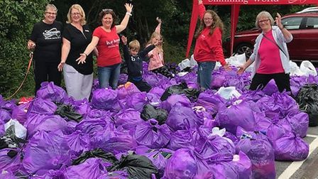 The Roysia Slimming World group have donated bags of clothes that they've slimmed out of to the Bigg