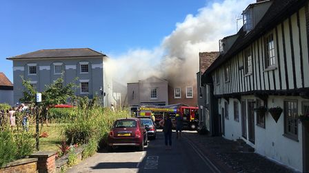 The fire in Church Street. Picture: GERALD LUCY