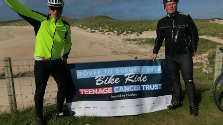 Colin and Tony at the finish line. Picture courtesy of the Teenage Cancer Trust.